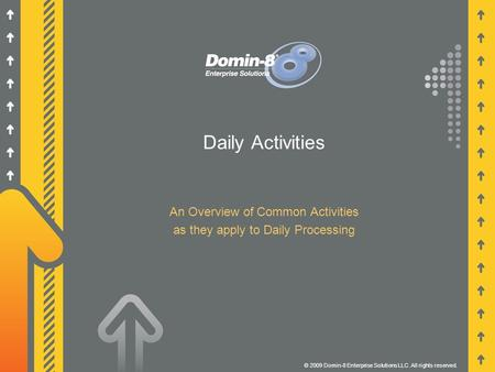 Daily Activities An Overview of Common Activities as they apply to Daily Processing © 2009 Domin-8 Enterprise Solutions LLC. All rights reserved.
