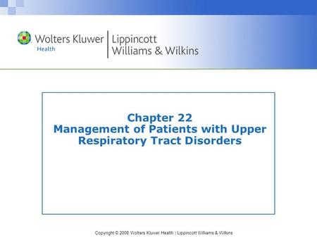 Nursing Care of Patients with Upper Airway Disorders