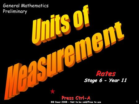 1 Press Ctrl-A ©G Dear 2008 – Not to be sold/Free to use Rates Stage 6 - Year 11 General Mathematics Preliminary.