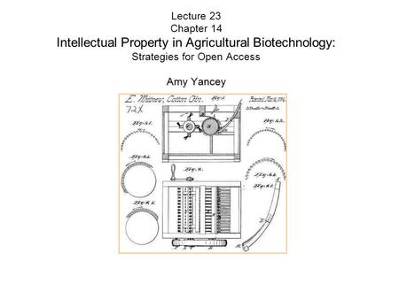 Amy Yancey Lecture 23 Chapter 14 Intellectual Property <strong>in</strong> <strong>Agricultural</strong> <strong>Biotechnology</strong>: Strategies for Open Access Amy Yancey.