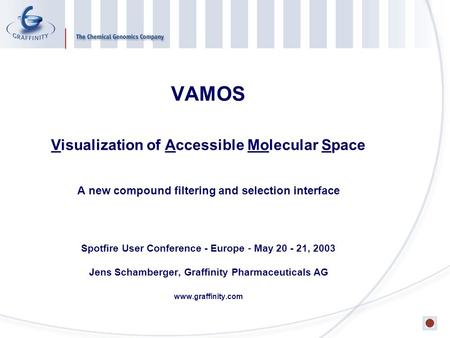 VAMOS Visualization of Accessible Molecular Space A new compound filtering and selection interface Spotfire User Conference - Europe - May 20 - 21, 2003.