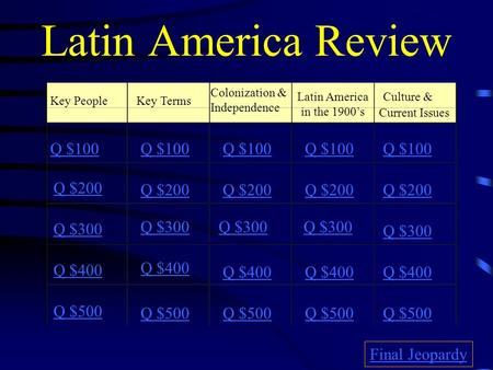 Latin America Review Key PeopleKey Terms Colonization & Independence Latin America in the 1900's Culture & Current Issues Q $100 Q $200 Q $300 Q $400.