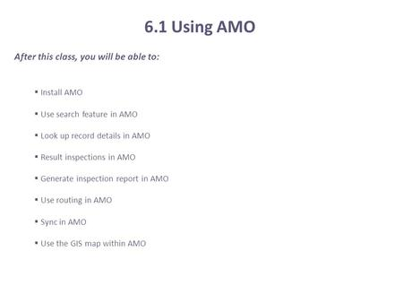 6.1 Using AMO After this class, you will be able to: Install AMO