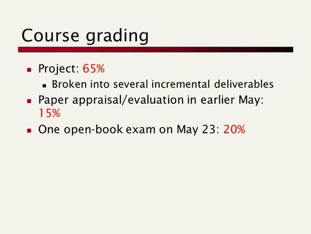 Course grading Project: 65% Broken into several incremental deliverables Paper appraisal/evaluation in earlier May: 15% One open-book exam on May 23: 20%