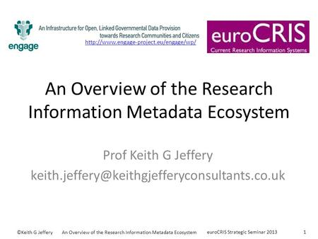 An Overview of the Research Information Metadata Ecosystem Prof Keith G Jeffery ©Keith G JefferyAn Overview.