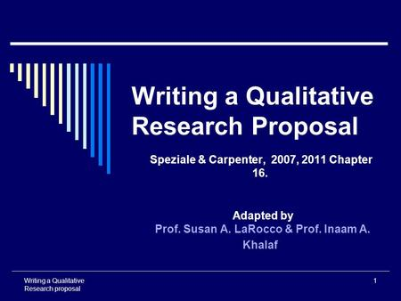 Writing the Proposal for a Qualitative Research Methodology Project