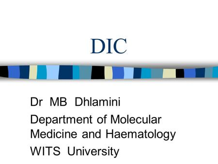 DIC Dr MB Dhlamini Department of Molecular Medicine and Haematology WITS University.