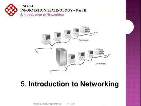ENG224 INFORMATION TECHNOLOGY – Part II 5. Introduction to Networking 1 9/15/2015 ASHOK KUMAR, PGT(COMP SC.)