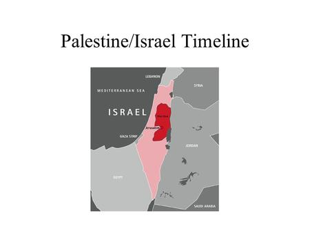 Palestine/Israel Timeline. Ancient Palestine 12 th century B.C. Homeland for both Jews and Palestinians.
