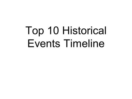 Top 10 Historical Events Timeline. Name of Event Date of Event Description of Event Significance to country's history Event 1 Top 10 Historical Events.