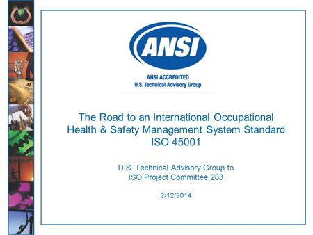 The Road to an International Occupational Health & Safety Management System Standard ISO 45001 U.S. Technical Advisory Group to ISO Project Committee.