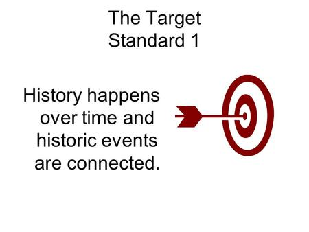 The Target Standard 1 History happens over time and historic events are connected.