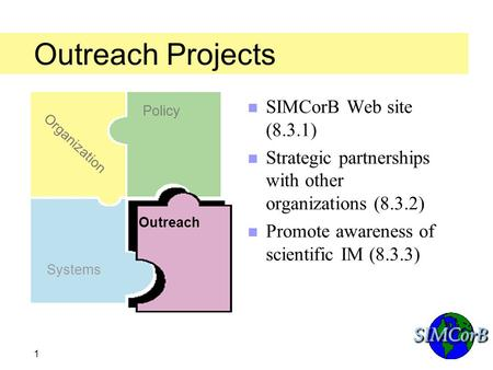 SIMCorBSIMCorB 1 Outreach Projects n SIMCorB Web site (8.3.1) n Strategic partnerships with other organizations (8.3.2) n Promote awareness of scientific.