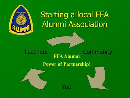 Community You Teachers FFA Alumni Power of Partnership! Starting a local FFA Alumni Association.