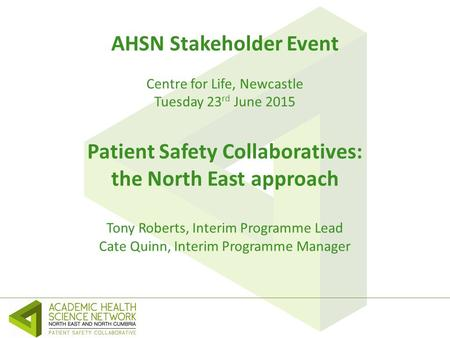 AHSN Stakeholder Event Centre for Life, Newcastle Tuesday 23 rd June 2015 Patient Safety Collaboratives: the North East approach Tony Roberts, Interim.