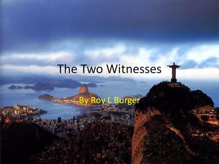 The Two Witnesses By Roy L Burger.