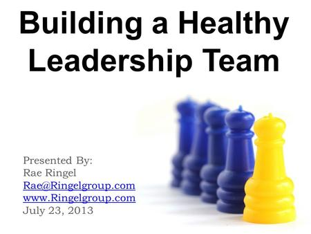 Building a Healthy Leadership Team Presented By: Rae Ringel  July 23, 2013.