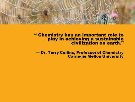 """ Chemistry has an important role to play in achieving a sustainable civilization on earth."" — Dr. Terry Collins, Professor of Chemistry Carnegie Mellon."
