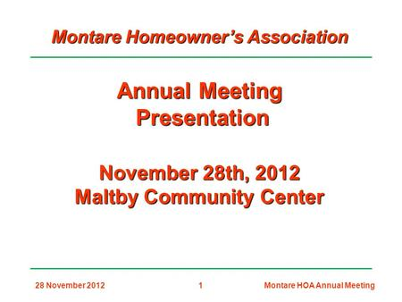 Montare Homeowner's Association Maltby Community Center