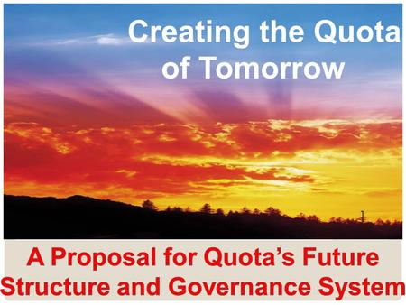 Creating the Quota of Tomorrow 1. WHY? 2 REASON 1 Quota's structure is complex and costly and no longer makes sense in the age of technology.