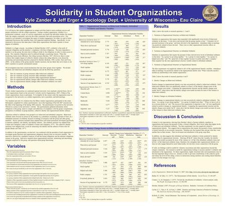 Results Results Solidarity in Student Organizations Kyle Zander & Jeff Erger ♦ Sociology Dept. ♦ University of Wisconsin- Eau Claire Solidarity in Student.