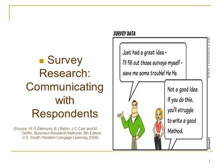 1 Survey Research: Communicating with Respondents (Source: W.G Zikmund, B.J Babin, J.C Carr and M. Griffin, Business Research Methods, 8th Edition, U.S,