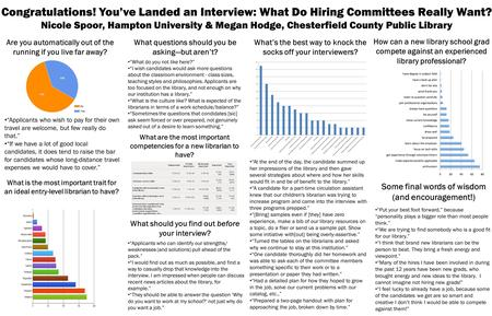 Congratulations! You've Landed an Interview: What Do Hiring Committees Really Want? Nicole Spoor, Hampton University & Megan Hodge, Chesterfield County.