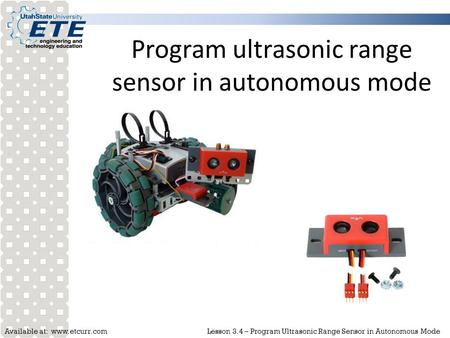 Program ultrasonic range sensor in autonomous mode