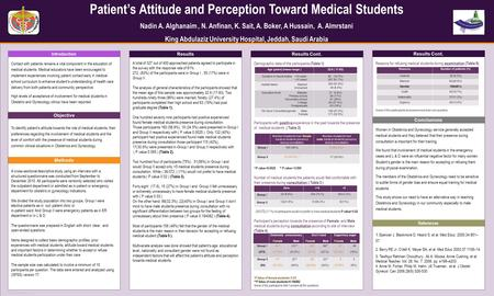 TEMPLATE DESIGN © 2008 www.PosterPresentations.com Patient's Attitude and Perception Toward Medical Students Nadin A. Alghanaim, N. Anfinan, K. Sait, A.