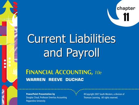Click to edit Master title style 1 1 1 11 Current Liabilities and Payroll.