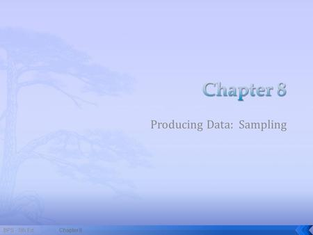 Producing Data: Sampling BPS - 5th Ed.Chapter 81.