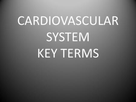 CARDIOVASCULAR SYSTEM KEY TERMS. Cardiovascular System Key Terms FRONT Cardio/Cardiac BACK Having to do with the Heart.
