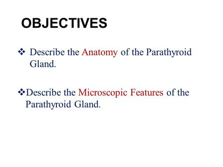 OBJECTIVES  Describe the Anatomy of the Parathyroid Gland.  Describe the Microscopic Features of the Parathyroid Gland.