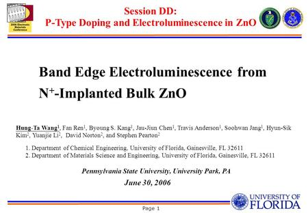 Page 1 Band Edge Electroluminescence from N + -Implanted Bulk ZnO Hung-Ta Wang 1, Fan Ren 1, Byoung S. Kang 1, Jau-Jiun Chen 1, Travis Anderson 1, Soohwan.