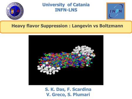 University of Catania INFN-LNS Heavy flavor Suppression : Langevin vs Boltzmann S. K. Das, F. Scardina V. Greco, S. Plumari.