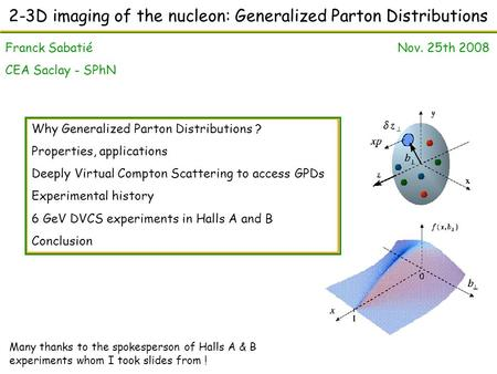 2-3D imaging of the nucleon: Generalized Parton Distributions Franck Sabatié Nov. 25th 2008 CEA Saclay - SPhN Why Generalized Parton Distributions ? Properties,