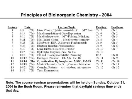Principles of Bioinorganic Chemistry - 2004 Note: The course seminar presentations will be held on Sunday, October 31, 2004 in the Bush Room. Please remember.