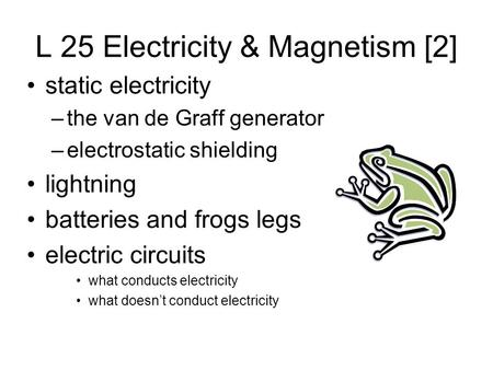 L 25 Electricity & Magnetism [2] static electricity –the van de Graff generator –electrostatic shielding lightning batteries and frogs legs electric circuits.