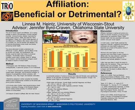 Affiliation: Beneficial or Detrimental? Linnea M. Heintz, University of Wisconsin-Stout Advisor: Jennifer Byrd-Craven, Oklahoma State University Introduction.