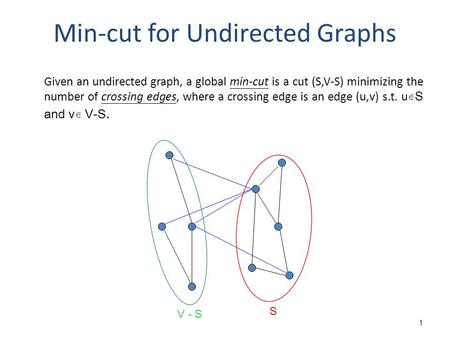1 Min-cut for Undirected Graphs Given an undirected graph, a global min-cut is a cut (S,V-S) minimizing the number of crossing edges, where a crossing.