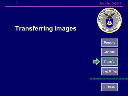 Transfer: O-2205 1 Transferring Images Prepare Conduct Transfer Bag & Tag Publish.