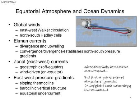 Equatorial Atmosphere and Ocean Dynamics