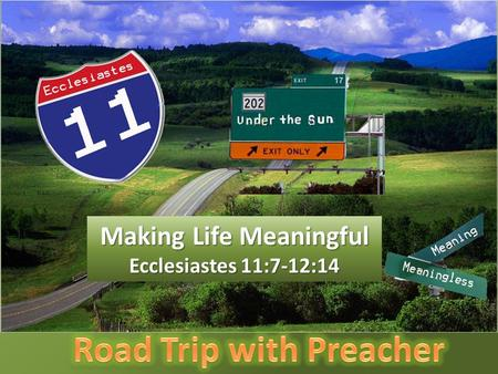 Making Life Meaningful Ecclesiastes 11:7-12:14. Light is sweet, and it pleases the eyes to see the sun. 8 However many years a man may live, let him enjoy.