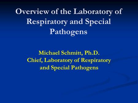 Overview of the Laboratory of Respiratory and Special Pathogens Michael Schmitt, Ph.D. Chief, Laboratory of Respiratory and Special Pathogens.