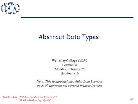 08 1 Abstract Data Types Problem Sets: PS2 due due Monday, Feburary 26 PS3 due Wednesday, March 7 Wellesley College CS230 Lecture 08 Monday, February 26.