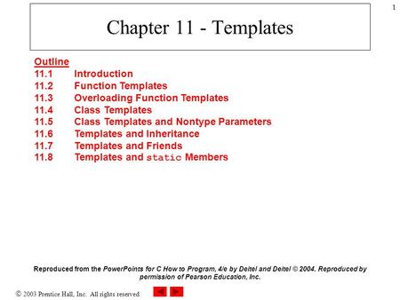  2003 Prentice Hall, Inc. All rights reserved. 1 Chapter 11 - Templates Outline 11.1 Introduction 11.2 Function Templates 11.3 Overloading Function Templates.