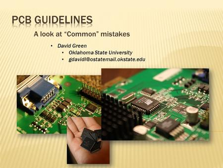 "A look at ""Common"" mistakes David Green Oklahoma State University"