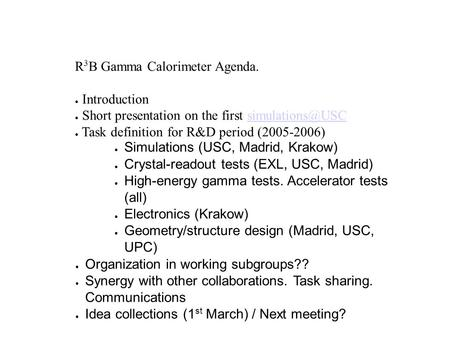 R 3 B Gamma Calorimeter Agenda. ● Introduction ● Short presentation on the first ● Task definition for R&D period (2005-2006)