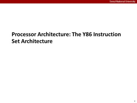 Processor Architecture: The Y86 Instruction Set Architecture