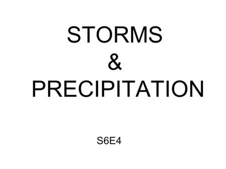 STORMS & PRECIPITATION S6E4. Types of Storms: Thunderstorm Tornado Snowstorm Hurricane.
